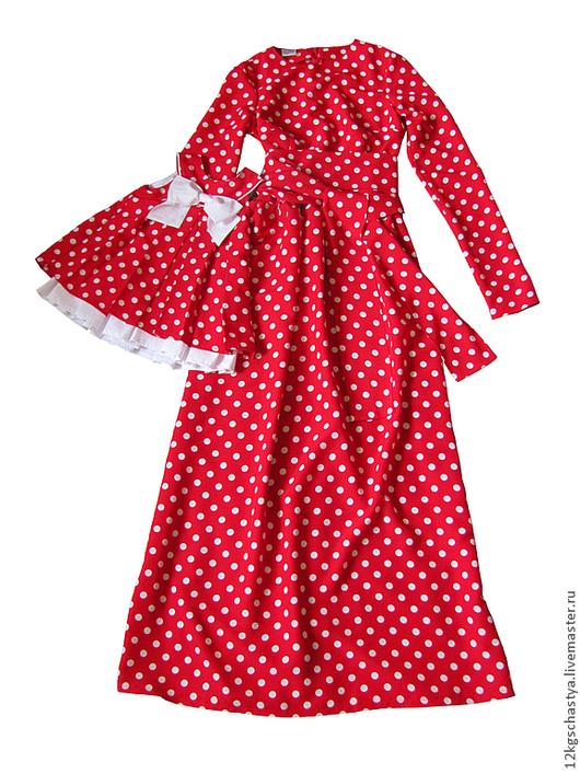 Платья ручной работы. Ярмарка Мастеров - ручная работа. Купить Платье для мамы и дочки в одном стиле. Handmade. Ярко-красный