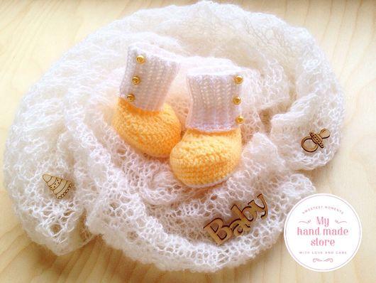 Для новорожденных, ручной работы. Ярмарка Мастеров - ручная работа. Купить Комплект для фотосессии новорожденного нежный плед-паутинка и пинетки. Handmade.