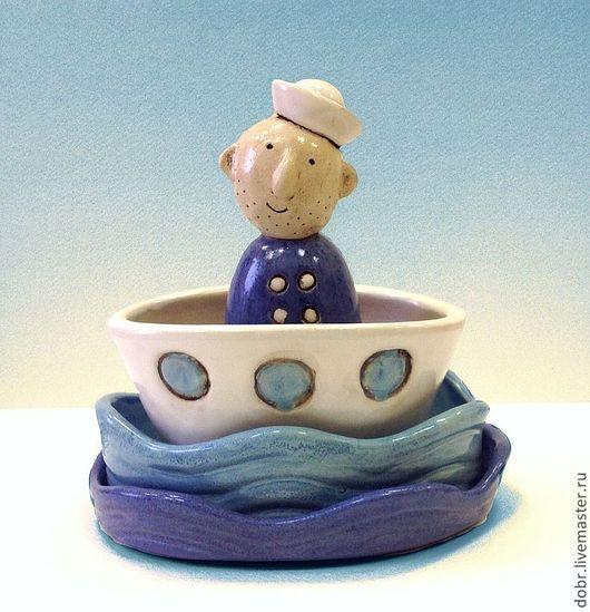 Подарочные наборы ручной работы. Ярмарка Мастеров - ручная работа. Купить Набор керамический Отважный Моряк. Handmade. Синий, море