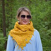 Аксессуары handmade. Livemaster - original item Scarf felted Dandelion Golden, air light scarf. Handmade.