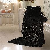 Для дома и интерьера handmade. Livemaster - original item Black fishnet plaid knitted crochet wool Merino. Handmade.