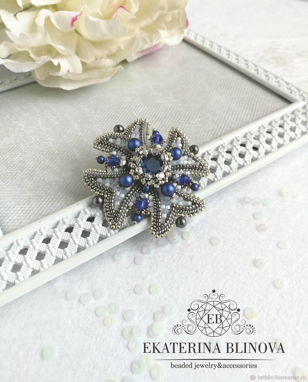"""Брошь """" Royal blue mini"""", Брошь-булавка, Снежинск,  Фото №1"""