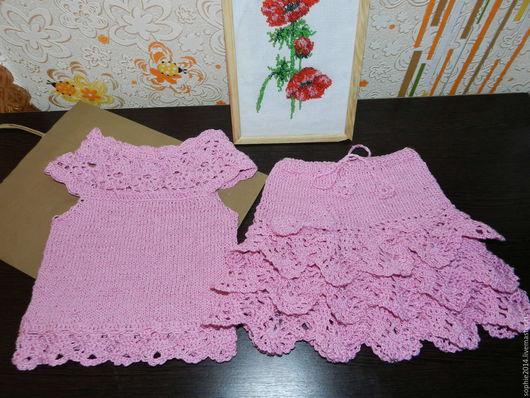 Одежда для девочек, ручной работы. Ярмарка Мастеров - ручная работа. Купить Комплект летний для девочки. Handmade. Бледно-розовый