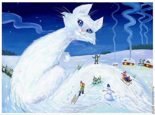 """Животные ручной работы. Ярмарка Мастеров - ручная работа. Купить Постер """"Кошка-зима"""". Handmade. Синий, кошка, зимняя иллюстрация"""