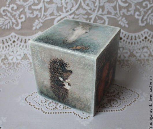 """Детская ручной работы. Ярмарка Мастеров - ручная работа. Купить Интерьерный кубик """"Ежик в тумане"""". Handmade. Серый, интерьерный, в детскую"""