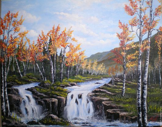 """Пейзаж ручной работы. Ярмарка Мастеров - ручная работа. Купить Картина маслом """"Пейзаж с водопадами"""". Handmade. Голубой, красота, березы"""