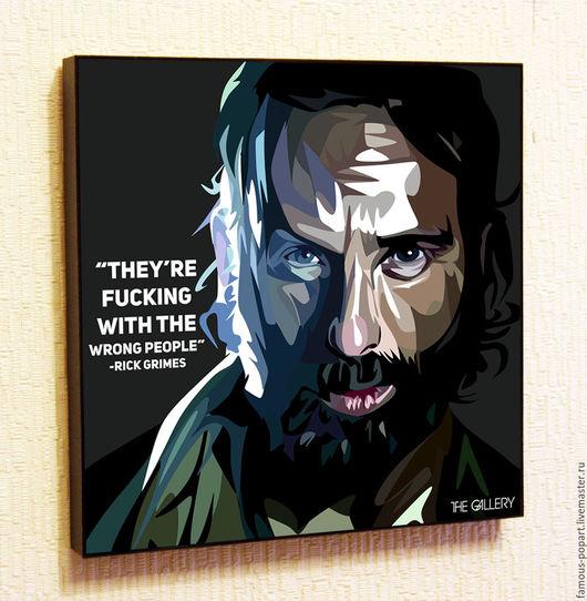 Подарки для мужчин, ручной работы. Ярмарка Мастеров - ручная работа. Купить Картина Рик Граймс Walking Dead в стиле Поп Арт. Handmade.
