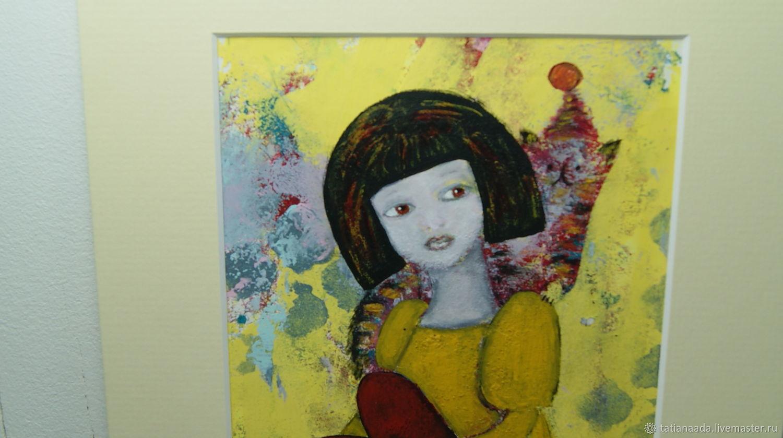 """Картина акрилом """"Девочка и её Странный Кот"""", Картины, Камышин,  Фото №1"""