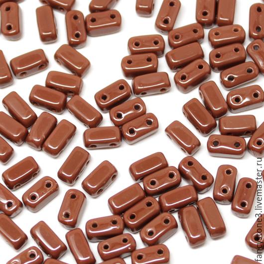 Для украшений ручной работы. Ярмарка Мастеров - ручная работа. Купить Чешские бусины Бриксы 3x6mm Умбра CzechMates Bricks 50шт. Handmade.