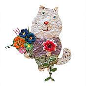 Украшения ручной работы. Ярмарка Мастеров - ручная работа Кот с букетом. Handmade.