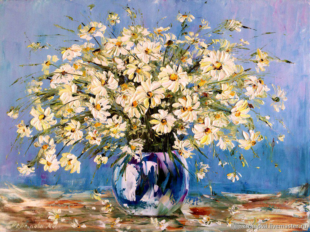 Oil painting of Daisies in a clear vase with White flowers, Pictures, Moscow,  Фото №1