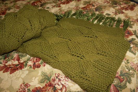 Текстиль, ковры ручной работы. Ярмарка Мастеров - ручная работа. Купить Плед вязаный с кистями. Handmade. Оливковый, вязаный