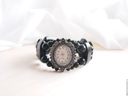 """Часы ручной работы. Ярмарка Мастеров - ручная работа. Купить """"Черный агат"""" - часы наручные, женские. Handmade. Черный"""