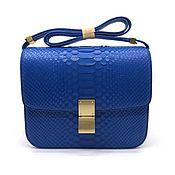 Сумки и аксессуары handmade. Livemaster - original item Shoulder bag, genuine Python leather, in blue.. Handmade.