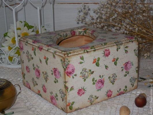 """Кухня ручной работы. Ярмарка Мастеров - ручная работа. Купить """"Бабушкин чай"""" салфетница. Handmade. Розовый, розочки"""