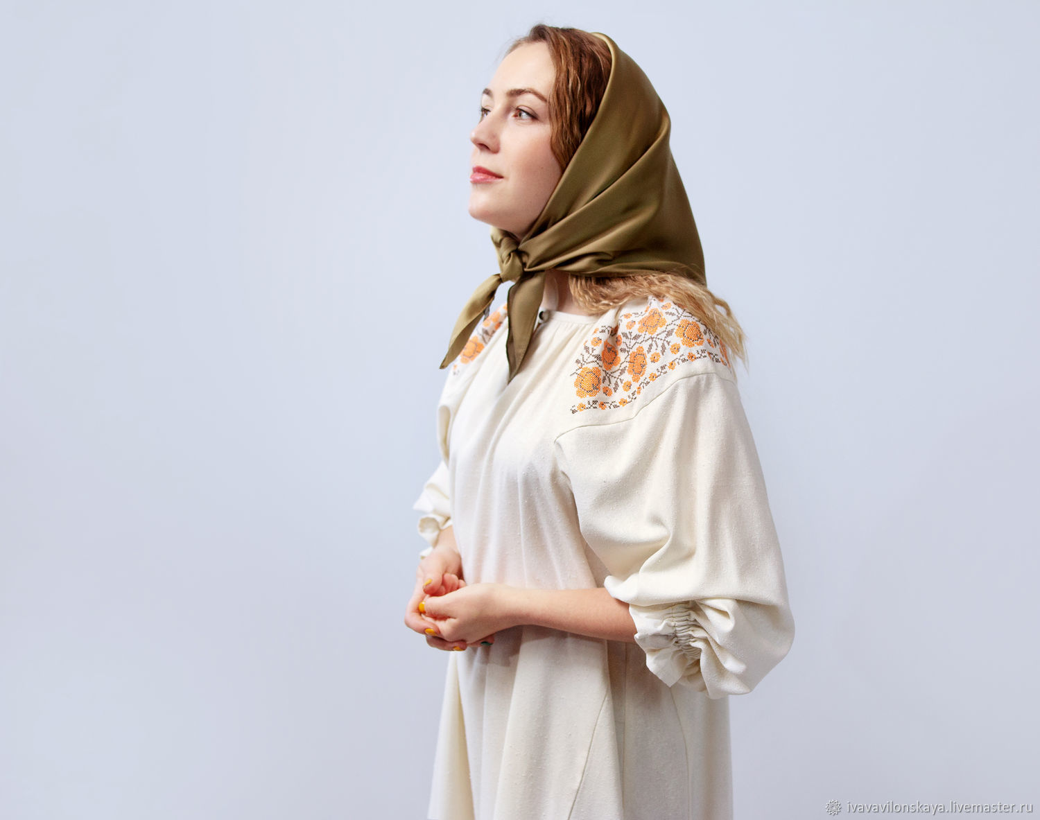 100% silk dress in Russian style with embroidery, Dresses, Moscow,  Фото №1