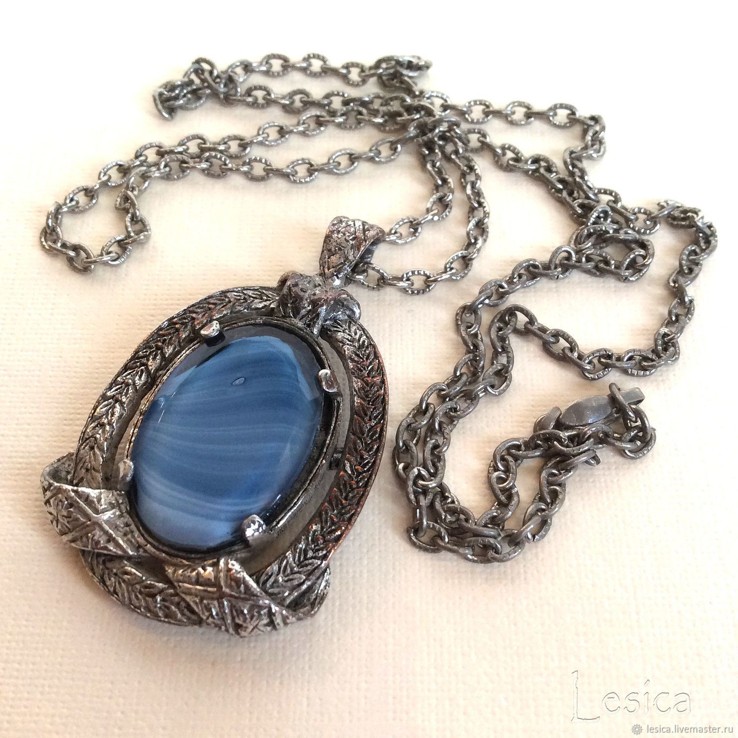 Pendant with chain, Miracle blue agate, Vintage brooches, Ramenskoye,  Фото №1