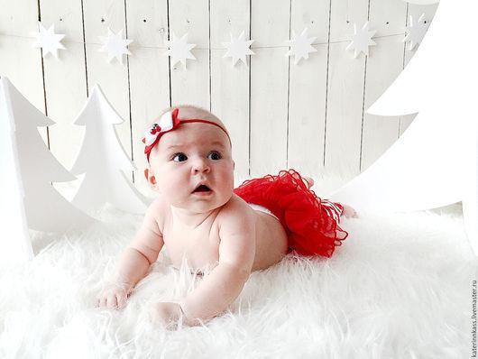 """Детская бижутерия ручной работы. Ярмарка Мастеров - ручная работа. Купить Повязка на голову для девочки """"Брусника"""". Handmade. Белый"""
