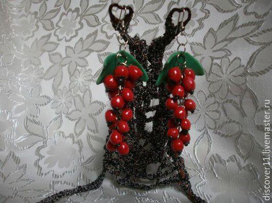 Серьги красная смородина из холодного фарфора
