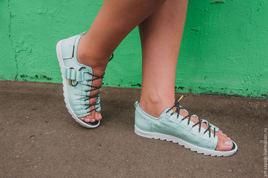 Обувь ручной работы. Ярмарка Мастеров - ручная работа. Купить Открытые кеды 13-215-s43 (СБ). Handmade. Мода