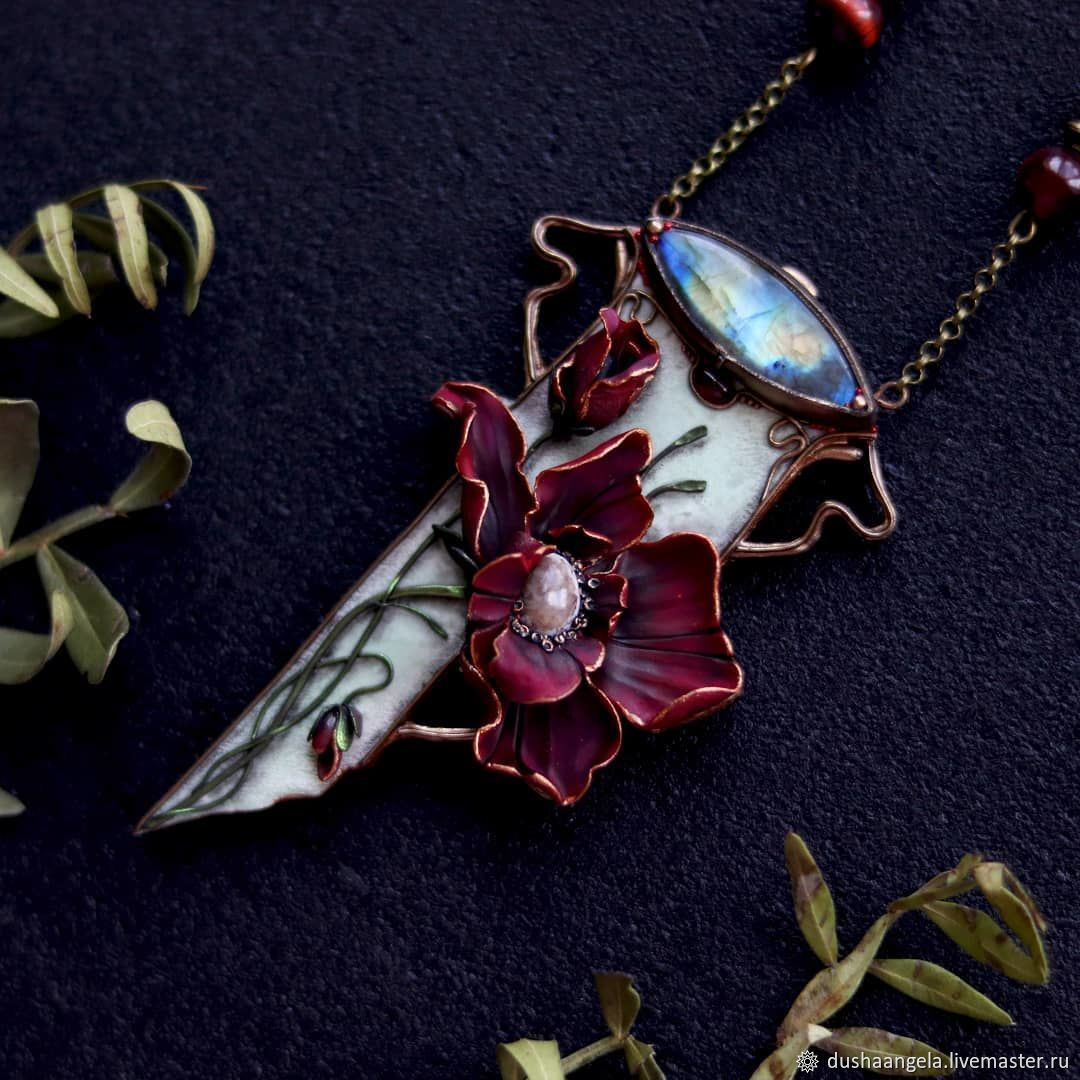 Necklace 'Papaver rubrum' poppy, art Nouveau, art Nouveau, Necklace, Vladimir,  Фото №1
