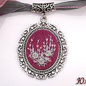 Украшения handmade. Livemaster - original item Embroidered pendant Bordeaux Queen. Handmade.