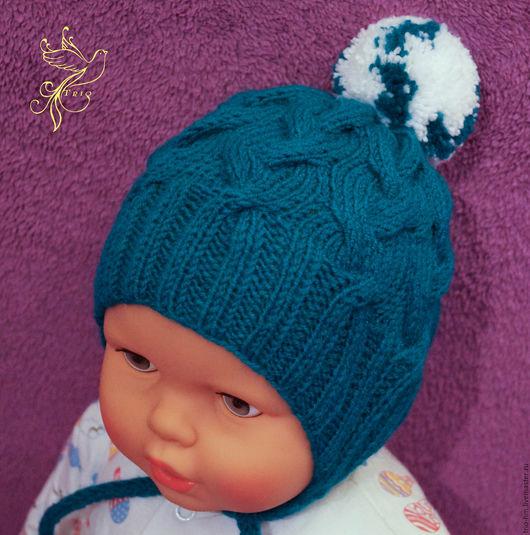 Шапки и шарфы ручной работы. Ярмарка Мастеров - ручная работа. Купить Вязаная шапка  для малыша с помпоном. Handmade. Подарок