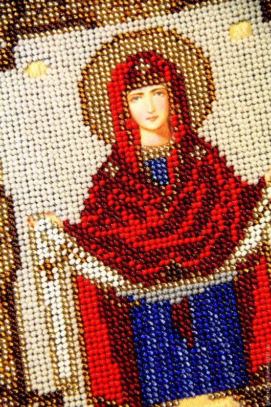"""Иконы ручной работы. Ярмарка Мастеров - ручная работа. Купить Икона """"Покров Пресвятой Богородицы"""". Handmade. Икона, бисер, вышивка"""