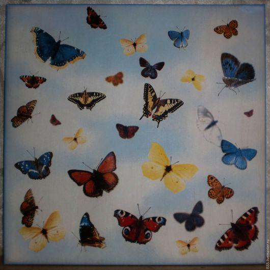 """Кухня ручной работы. Ярмарка Мастеров - ручная работа. Купить """"Бабочки в небе"""" Разделочная доска панно. Handmade. Комбинированный"""
