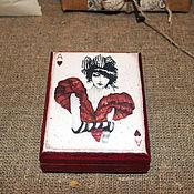 """Для дома и интерьера ручной работы. Ярмарка Мастеров - ручная работа Шкатулка для карт """"Дама червей"""". Handmade."""