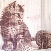 """Картины ручной работы. Ярмарка Мастеров - ручная работа Пирография """"котенок с клубком"""". Handmade."""