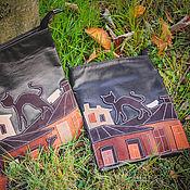 Сумки и аксессуары ручной работы. Ярмарка Мастеров - ручная работа Кожаная сумка Кот на крыше. Handmade.