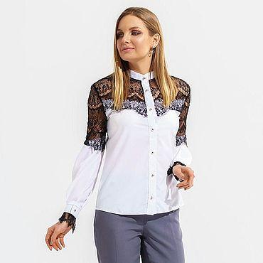 Одежда ручной работы. Ярмарка Мастеров - ручная работа Модная блуза с кружевом белая. Handmade.