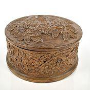 Для дома и интерьера ручной работы. Ярмарка Мастеров - ручная работа Резьба по дереву. Круглая деревянная шкатулка с рябиной. Handmade.