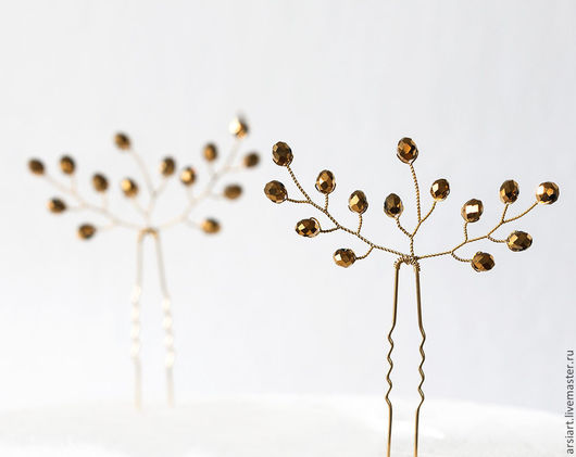 Заколки ручной работы. Ярмарка Мастеров - ручная работа. Купить 823 Золотые шпильки для волос, Шпильки для волос, Свадебные аксессуары. Handmade.