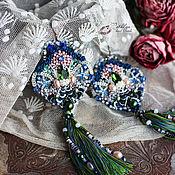 """Украшения ручной работы. Ярмарка Мастеров - ручная работа Серьги с кистями """"Исида"""" : вышивка бисером, пайетки, кружево, шелк. Handmade."""