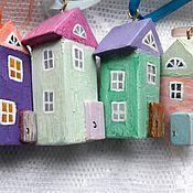 """Куклы и игрушки ручной работы. Ярмарка Мастеров - ручная работа """"Мне эта улица родная и в непогоду дорога..."""" 7 домиков. Handmade."""