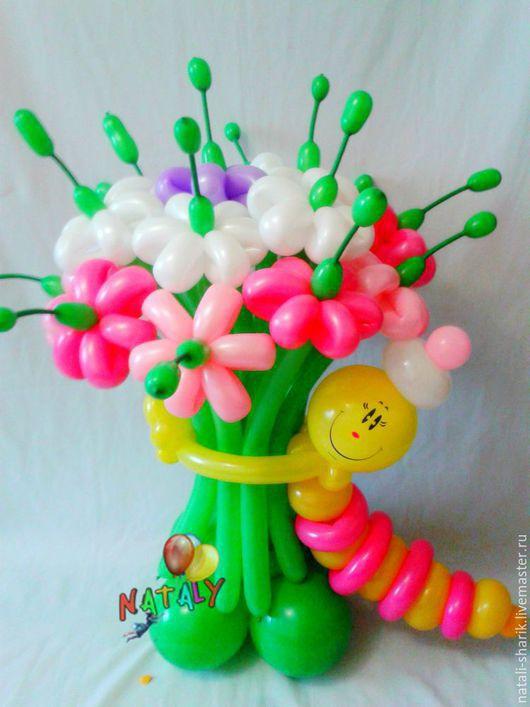 Праздничная атрибутика ручной работы. Ярмарка Мастеров - ручная работа. Купить Букет цветов с гусеничкой.. Handmade. Комбинированный, букет из шаров