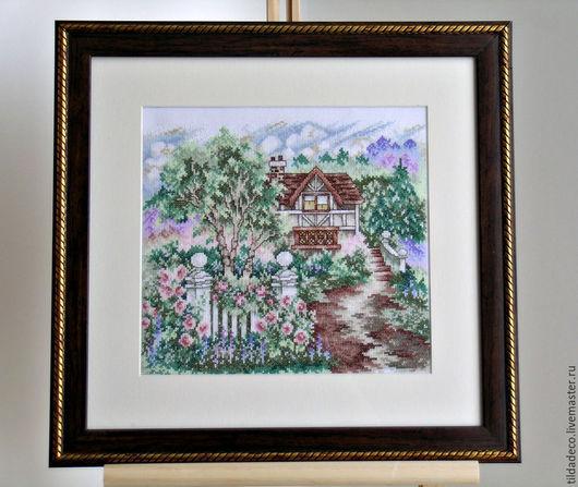 """Пейзаж ручной работы. Ярмарка Мастеров - ручная работа. Купить Вышитая картина """"Английский сад"""". Handmade. Морская волна, пейзаж"""