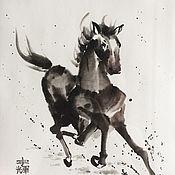 """Картины и панно ручной работы. Ярмарка Мастеров - ручная работа Картина в технике суми-э """"Как ветер..."""". Handmade."""