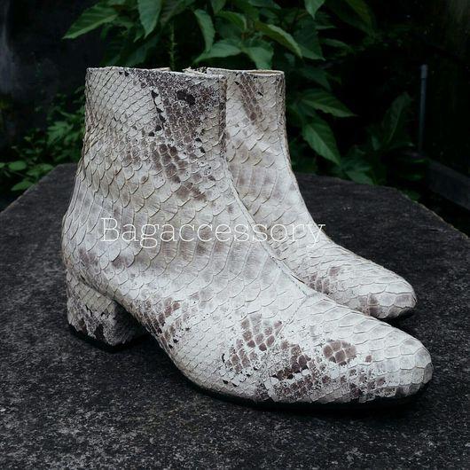 Обувь ручной работы. Ярмарка Мастеров - ручная работа. Купить Ботильоны из натуральной кожи питона. Handmade. Ботильоны, ботильоны из кожи