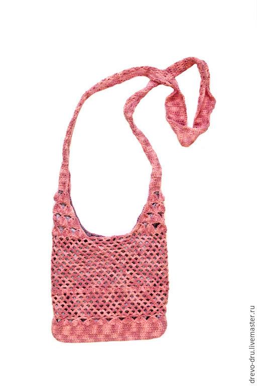 Женские сумки ручной работы. Ярмарка Мастеров - ручная работа. Купить Летняя сумочка через плечо. Handmade. Коралловый, сеточка