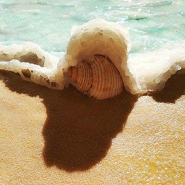 Картины и панно ручной работы. Ярмарка Мастеров - ручная работа Объемная картина с морской ракушкой и песком Морская волна. Handmade.