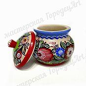 Посуда handmade. Livemaster - original item Sugar bowl 1548 (Gorodets painting). Handmade.