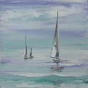 Картины и панно ручной работы. Ярмарка Мастеров - ручная работа Яхты в море. Handmade.