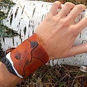 Украшения ручной работы. Ярмарка Мастеров - ручная работа Кожаный браслет фигурный Лиса. Handmade.