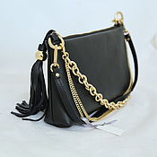 Classic Bag handmade. Livemaster - original item Handbag black leather with chains of art. 335. Handmade.