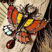 Украшения handmade. Livemaster - original item Butterfly Pendant Fiery Red (p-103). Handmade.