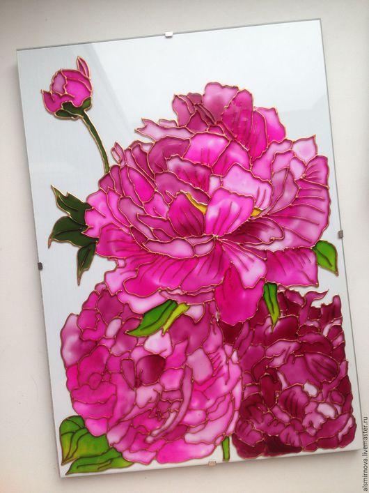Картины цветов ручной работы. Ярмарка Мастеров - ручная работа. Купить картина на стекле, витражная роспись - Пионы. Handmade. Розовый
