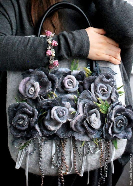 """Женские сумки ручной работы. Ярмарка Мастеров - ручная работа. Купить Дизайнерская сумка """"Графитовые розы"""". Handmade. Темно-серый"""